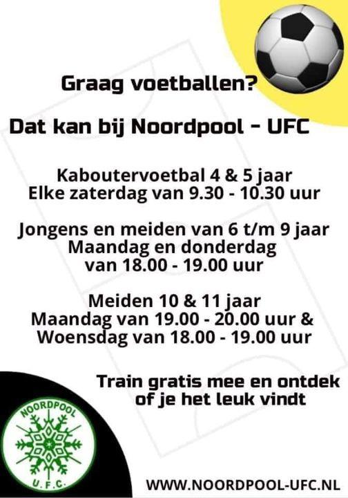Kom voetballen bij Noordpool-U.F.C.!